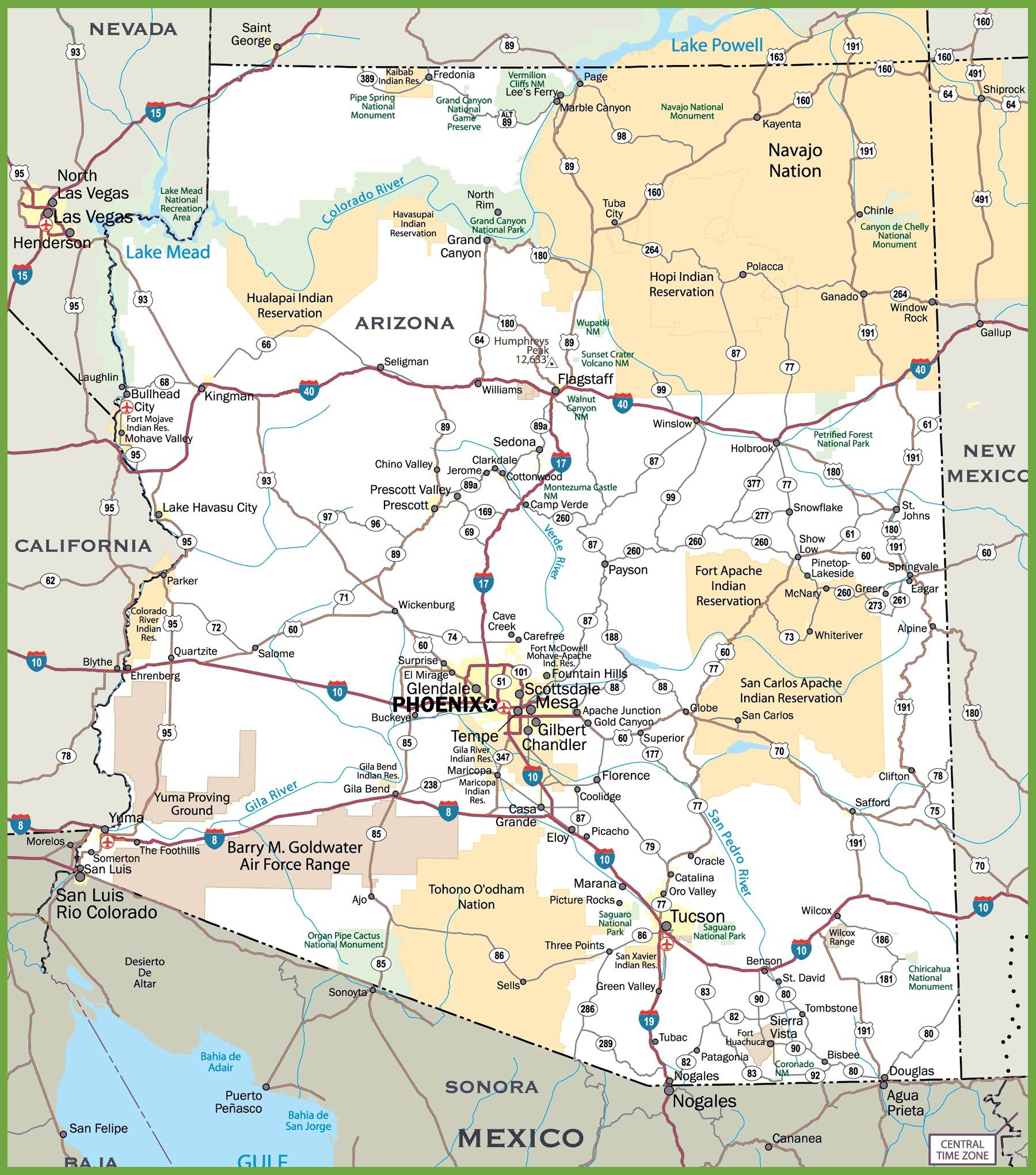 Geographical Map Of Arizona.Arizona Selected Geographical Facts